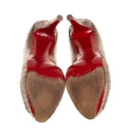 Christian Louboutin Brown/Beige Watersnake Leather Altadama Peep Toe Platform Pumps Size 35