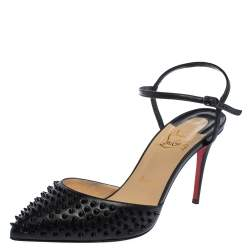 Christian Louboutin Black Leather Baila Sandals Size 37
