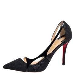 Christian Louboutin Black Glitter And Patent Leather Edith D'orsay Pumps Size 36.5