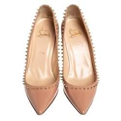 Christian Louboutin Beige Patent Leather Anjalina Pumps Size 37