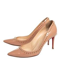 Christian Louboutin Beige Patent Leather Anjalina Pumps Size 37