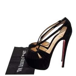Christian Louboutin Black Suede Criss Cross Platform Sandals Size 38