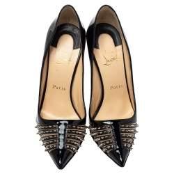 Christian Louboutin Black Patent Leather Bareta Spike-Embellished Pumps Size 38