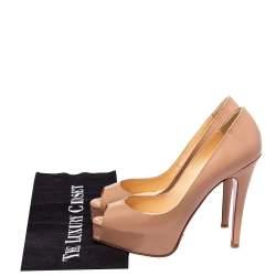 Christian Louboutin Beige Patent Leather Lady Peep Toe Platform Pumps Size 34.5