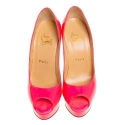 Christian Louboutin Pink Patent Leather Lady Peep Toe Platform Pumps Size 37.5