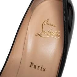 Christian Loubuton Black Patent Leather Lady Peep Platform Pumps Size 37