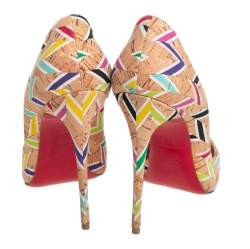 Christian Louboutin Multicolour Chevron Cork So Kate Pumps Size 36.5