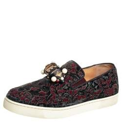 Christian Louboutin Burgundy/Black Printed Velvet Jewel Slip On Sneakers Size 37
