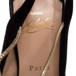 Christian Louboutin Black Suede Alta Spritney Platform Slingback Sandals Size 38.5