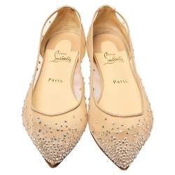 Christian Louboutin Beige Embellished Mesh Follies Strass Pointed Toe Ballet Flats Size 40