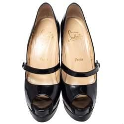 حذاء كعب عالي كريستيان لوبوتان ماري جين جلد أسود لامع مقدمة مفتوحة مقاس 39