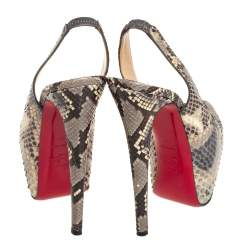 Christian Louboutin Multicolor Python Daffodile Platform Slingback Sandals Size 37