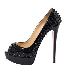 حذاء كعب عالي كريستيان لوبوتان جلد أسود لامع ليدي مقدمة مفتوحة سبايك نعل سميك مقاس 39