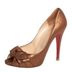 Christian Louboutin Metallic Bronze Leather Madame Butterfly Peep Toe Pumps Size 38.5