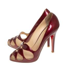 Christian Louboutin Burgundy Patent Leather and Mesh Pumps Size 36