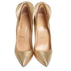 Christian Louboutin Gold Leather Mea Culpa Pointed Toe Pumps Size 40