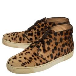 Christian Louboutin Brown Leopard Print  Calf Hair Lace Up Sneaker Size 43