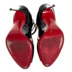 Christian Louboutin Black Patent Leather Talitha Peep Toe Pumps Size 39