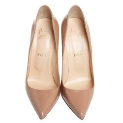 Christian Louboutin Nude Patent Leather Pigalle 120 Pumps Size 40