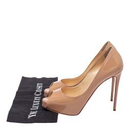 Christian Louboutin Beige Patent Leather New Very Prive Platform Pumps Size 37.5