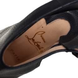 Christian Louboutin Black Leather Strapagada Morphee Booties Size 37.5