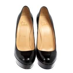 Christian Louboutin Black Patent Leather Bianca Platform Pumps Size 37.5
