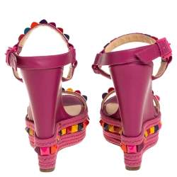 Christian Louboutin Pink Leather Cataclou Espadrille Wedge Sandals Size 36