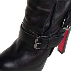 Christian Louboutin Black Leather Guerriere Platform Ankle Boots Size 37.5