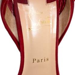 Christian Louboutin Red Eel And Suede Crisscross Bow Sandals Size 38.5