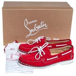 Christian Louboutin Red Suede Steckel Spike Boat Loafers Size 40.5