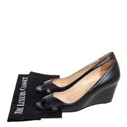 Christian Louboutin Black Leather Riveto Peep Toe Wedge Sandals Size 38
