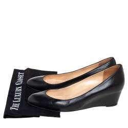 Christian Louboutin Black Leather Ronron Wedges Pumps Size 39
