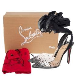 Christian Louboutin Black PVC And Lace Up Spikaqueen Studded Accent Wrap Up Pumps Size 38.5