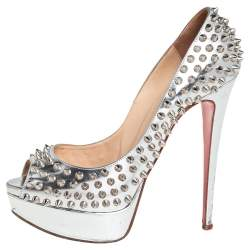 Christian Louboutin Silver Leather Lady Peep Toe Spikes Pumps Size 38