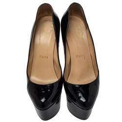 Christian Louboutin Black Patent Leather Daffodile Platform Pumps Size 38