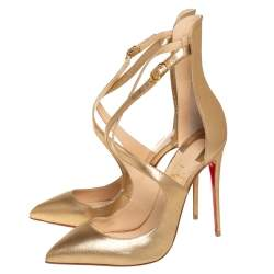 Christian Louboutin Gold Leather Marlena Rock Pointed Toe Pumps Size 38.5