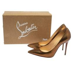 Christian Louboutin Gold Patent Leather Decollete Pumps Size 37.5