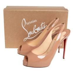 Christian Louboutin Beige Patent Leather Private Number Peep Toe Platform Slingback Sandals Size 38
