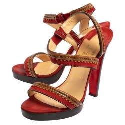 Christian Louboutin Red/Brown Leather And Suede Trepi City Sandals Size 39.5