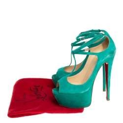 Christian Louboutin Green Suede T-Strap Peep Toe Platform Sandals Size 38