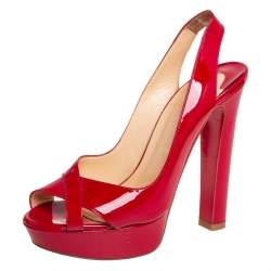 Christian Louboutin Red Patent Leather Soso Crisscross Sandals Size 37.5