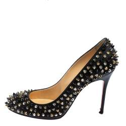 Christian Louboutin Black Leather Fifi Spikes Pumps Size 38.5