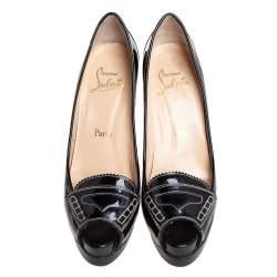 Christian Louboutin Black Patent Leather Peniche Peep-Toe Pumps Size 38.5