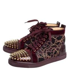 Christian Louboutin Burgundy Patent Leather And Velvet Louis High Top Sneakers Size 40