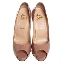 Christian Louboutin Beige Patent Leather Very Prive Pumps Size 38