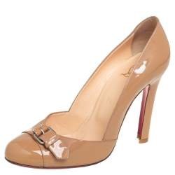 Christian Louboutin Beige Patent Leather Buckle Detail Pumps Size 38.5