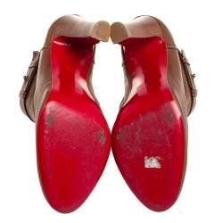 Christian Louboutin Brown Leather Et D'Un Booties Size 38.5