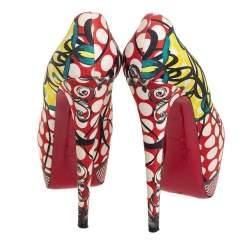 Christian Louboutin Multicolor Fabric Daffodile Platform Pumps Size 38