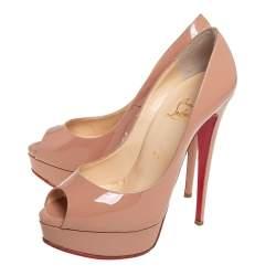Christian Louboutin Beige Patent Leather Lady Peep Toe Platform Pumps Size 38