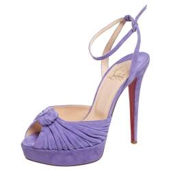 Christian Louboutin Purple Suede Knotted Greissimo Platform Ankle Strap Sandals Size 38.5